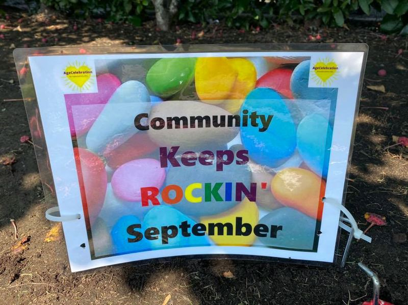 COURTESY PHOTO: AGE CELEBRATION - A sign posted at the Glenn & Viola Walters Cultural Arts Center in Hillsboro marking the location of the community art initiative 'Community Keeps Rockin'.'