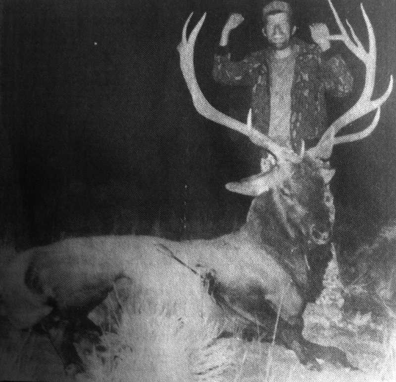 CENTRAL OREGONIAN - Sept. 14, 1995: Michael Smith, of Prineville, displays the seven-by-six-point elk he killed Sept. 7 while bowhunting in the desert near Brothers. Smith has hunted for nearly two decades, and he shares a state record for elk size.