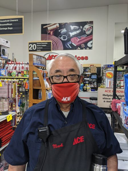 PMG: JOSEPH GALLIVAN - Mark Nakajima, co-owner of the Ace Hardware franchise at 3602 Pacific Ave. says business has boomed under COVID-19 as people stuck at home turn to home improvement. Most lawncare products are on backorder.