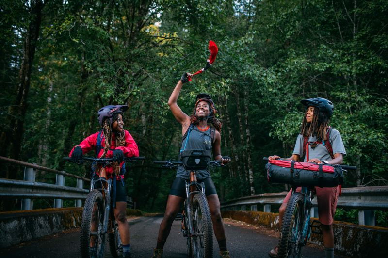 COURTESY PHOTO: WOLF & SCOUT - Filmmaker Analise Cleopatra (center) was joined by friend Day Toliver (left) and pro biker Brooklyn Bell for her six-day bikepacking adventure and 'Pedal Through' documentary.