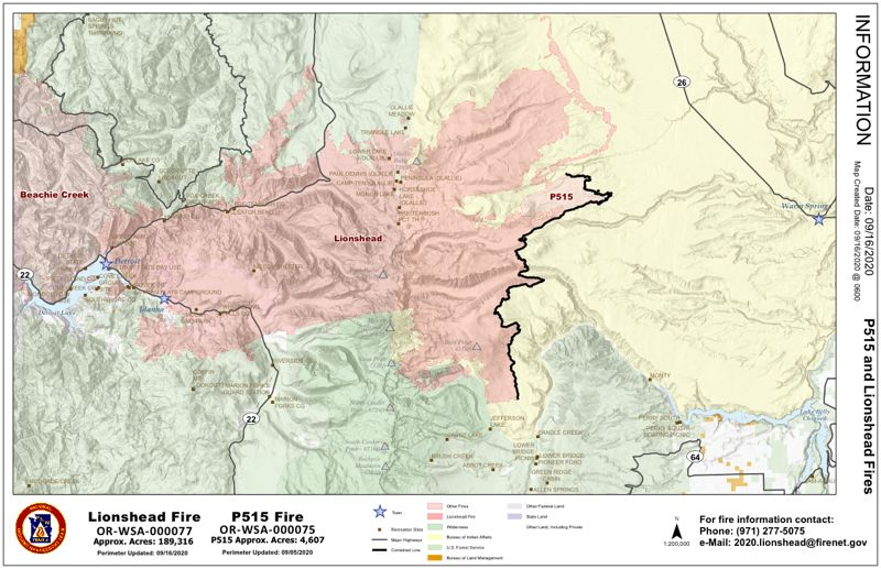 COURTESY GRAPHIC - The Lionshead Fire Sept. 16