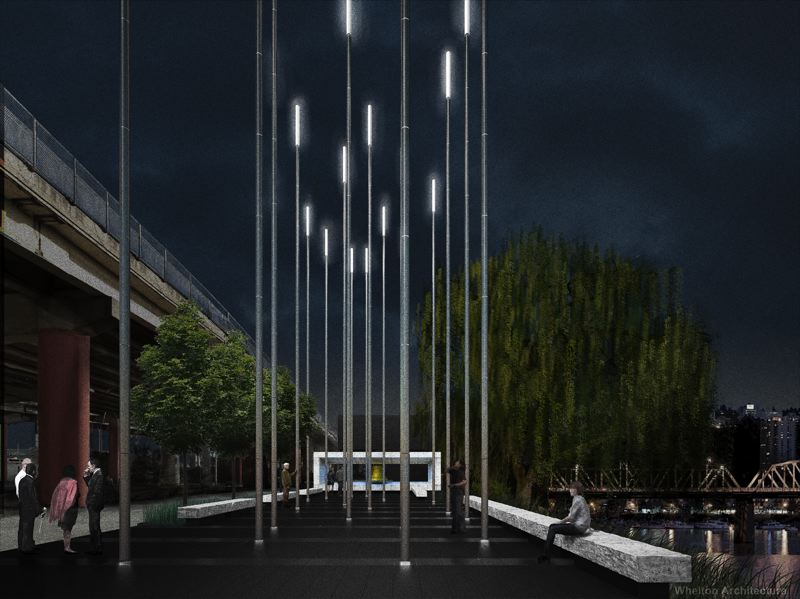 COURTESY: WHELTON ARCHITECTURE - Should we consider a memorial for 2020? According to Portland architect Donald Stastny, the best memorials take the viewer on a journey and invoke a sense of discovery. This is a rendering of the proposed David Campbell Memorial for the Eastbank Esplanade.