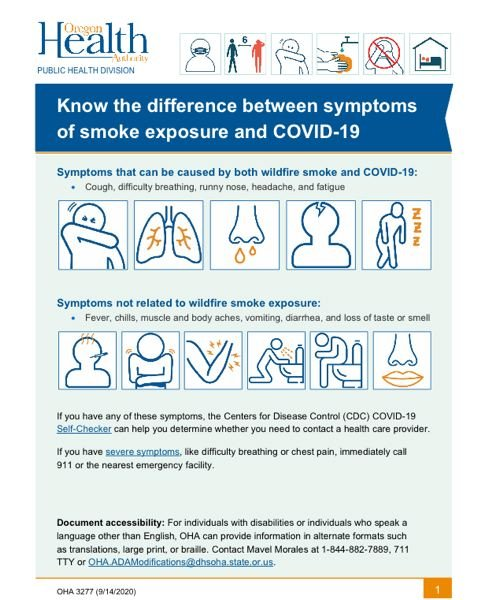 COURTESY GRAPHIC: OREGON HEALTH AUTHORITY - The Oregon Healthy Authority explains the difference between symptoms of smoke exposure and COVID-19.
