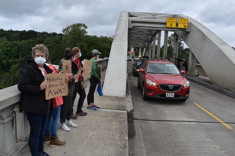 PMG PHOTO: RAYMOND RENDLEMAN - Oregon City Mayor Dan Holladay was targeted by protesters on June 9 on the Arch Bridge as the City Commission adopted a stance against racism.