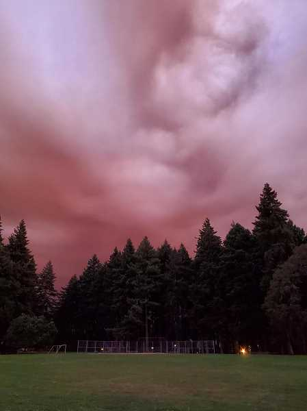 COURTESY PHOTO - Wildfire smoke rises above Sellwood Park in Portland during the September 2020 crisis.