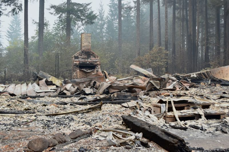 PMG PHOTO: BRITTANY ALLEN - The Dodge Community Church, which has served the community for more than 70 years, was one Estacada-area casualty of the Riverside Fire.