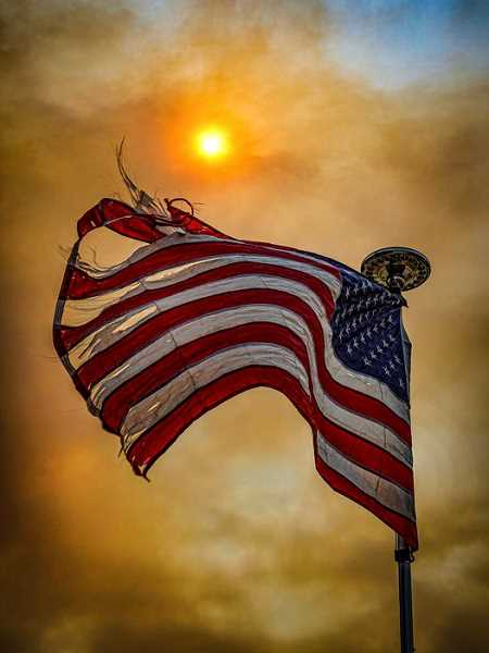 COURTESY PHOTO: DAVID PIERCE - A friend of Oregon City Commissioner Frank O'Donnell's took this photo of an American flag in the wake of West Coast wildfires.