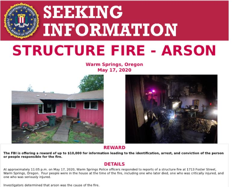 COURTESY PHOTO - The FBI is offering $10,000 for information leading to the identity of the person or people responsible for a May 17 arson that killed one man.