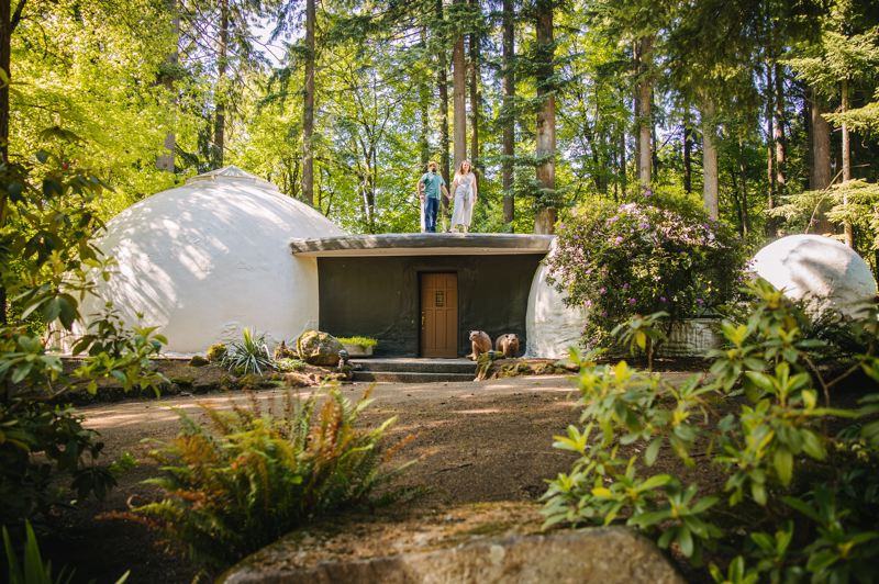 COURTESY PHOTO: THANIN VIRIYAKI PHOTOGRAPHY - Rebecca and Alex Hagmuller enjoy living in The Dome Home in West Linn, which is part of the third annual Portland Weird Homes Tour.