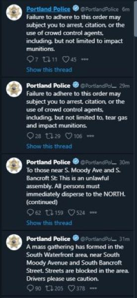 PPB TWITTER - The Portland Police Bureau warns of the use of crowd control agents, including tear gas, and later reissues a tweet without the tear gas phrasing.
