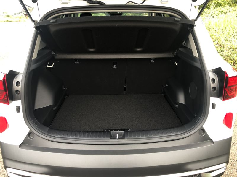 PMG PHOTO: JEFF ZURSCHMEIDE - There is a lot of cargo space in the 2021 Kia Seltos, especially with the rear seats folded down.