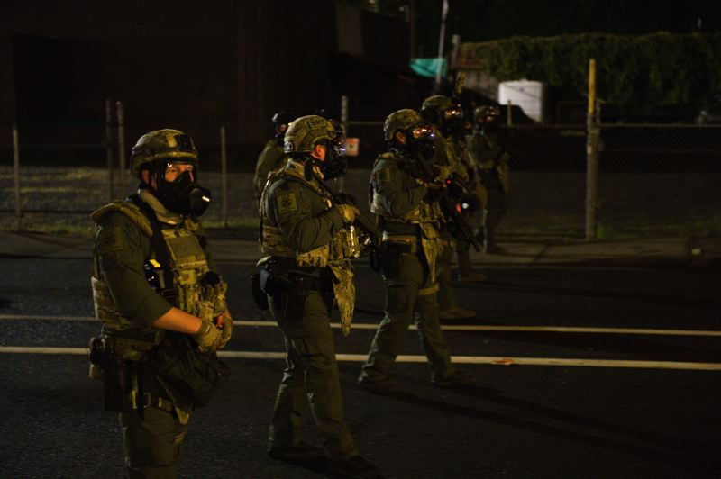 COURTESY SEAN BASCOM - Federal agents deployed tear gas while dispersing a crowd during a protest on Friday, Sept. 18.