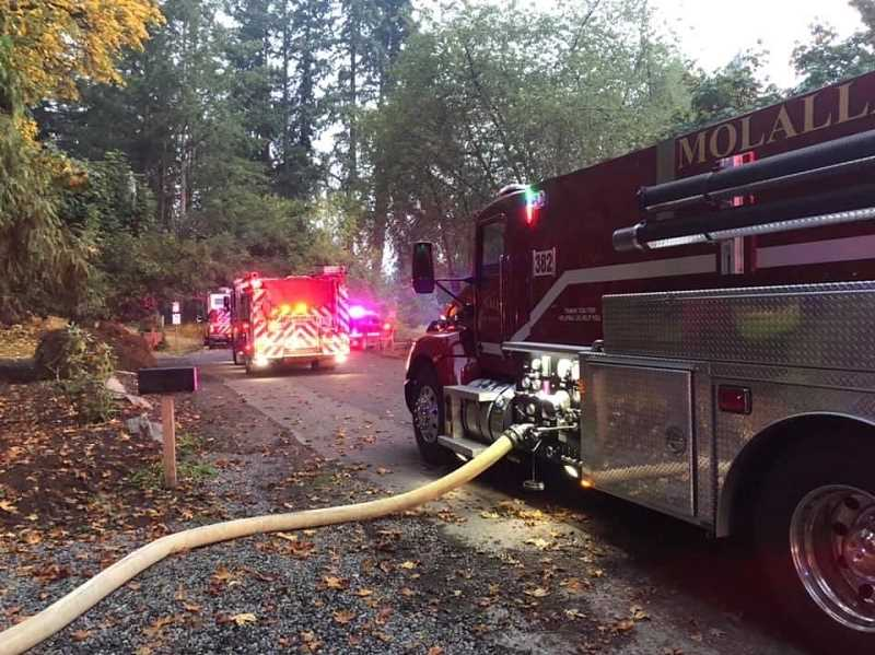 COURTESY PHOTO: MOLALLA FIRE - Molalla Fire, Colton Fire, Canby Fire and Clackamas Fire crews responded to the structure fire Sunday, Sept. 20.