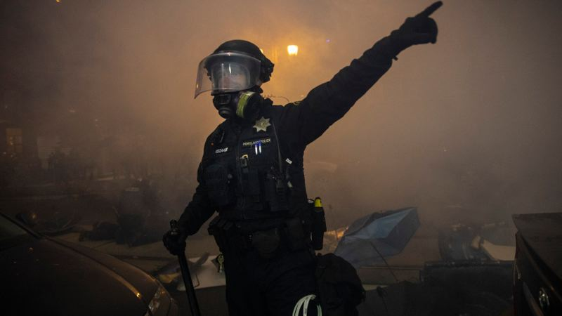 KOIN 6 NEWS - A law enforcement officers during a Portland protests.