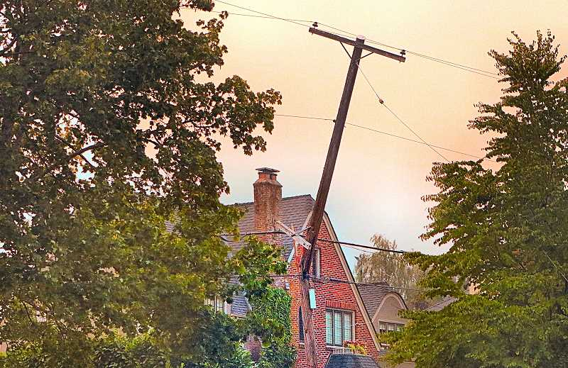 DAVID F. ASHTON - During the windstorm, an Eastmoreland tree fell onto electric power wires, snapping this nearby wooden utility pole.