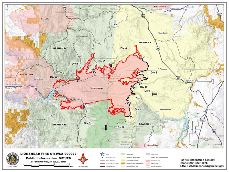 COURTESY MAP - The Lionshead and P-515 fires on Sept. 21, 2020.