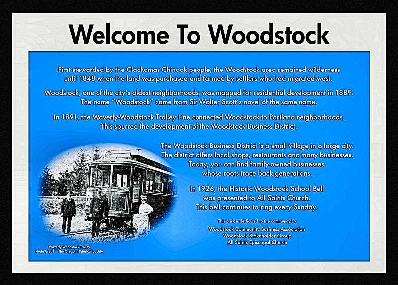 COURTESY OF ANGIE EVEN - Heres the planned historical marker for the new Woodstock parklet, at All Saints Church.