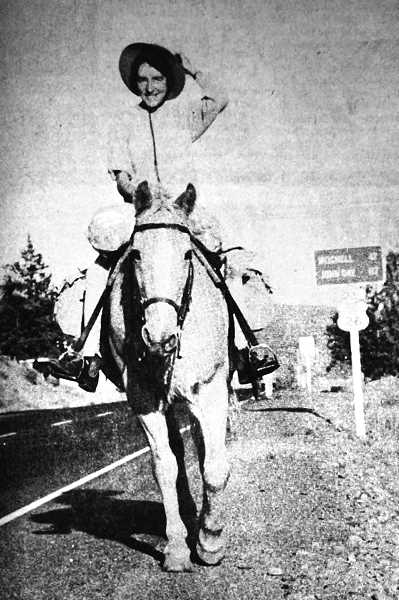 CENTRAL OREGONIAN - October 1, 1970: Riding into Prineville Monday afternoon was an extraordinary tourist, Australian Hazel Astbury. Miss Astbury has been traveling in the U.S. and Canada every summer for the past five years.