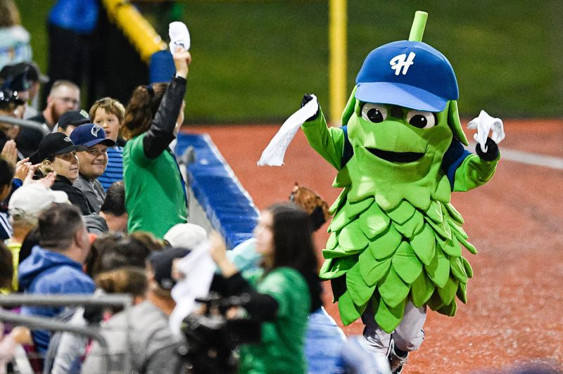 PMG FILE PHOTO: - Hillsboro Hops mascot Barley T Hop during game one of the Northwest League Championships against the Tri-City Dust Devils at Ron Tonkin Field on Sept. 7, 2019.
