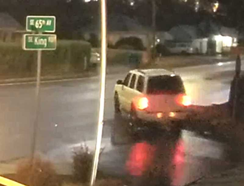 COURTESY PHOTO: CCSO - The driver of this white SUV is sought in fatal hit-and-run case near Milwaukie.