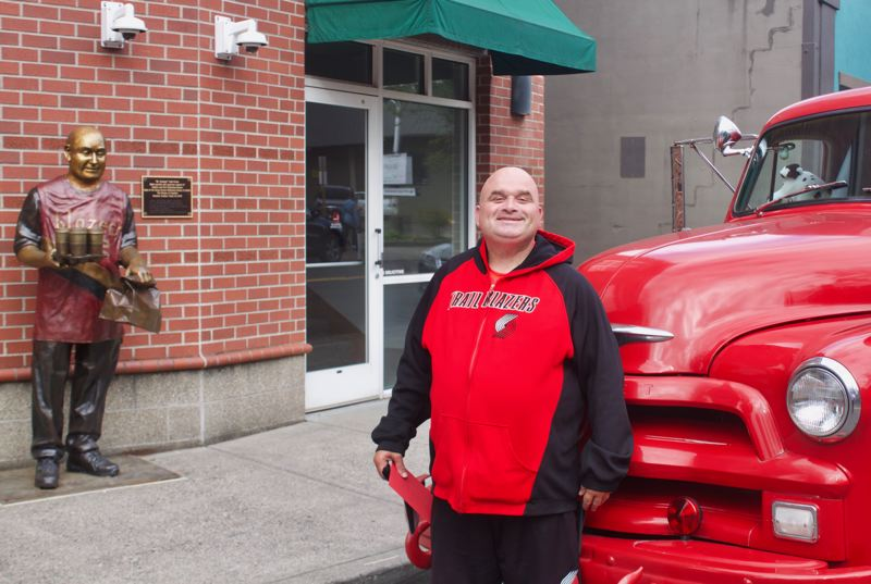 PMG PHOTO: CHRISTOPHER KEIZUR - A firetruck was one of several cars that drove by to honor Todd Kirnan.