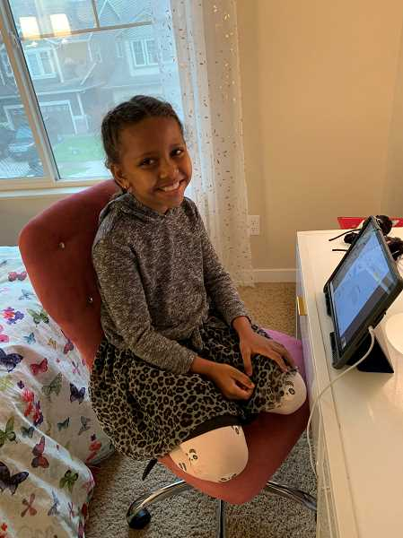 COURTESY PHOTO: AMBER FIELDS - Charley Fields, a second-grader in the Tigard-Tualatin School District, started her classes virtually last week.