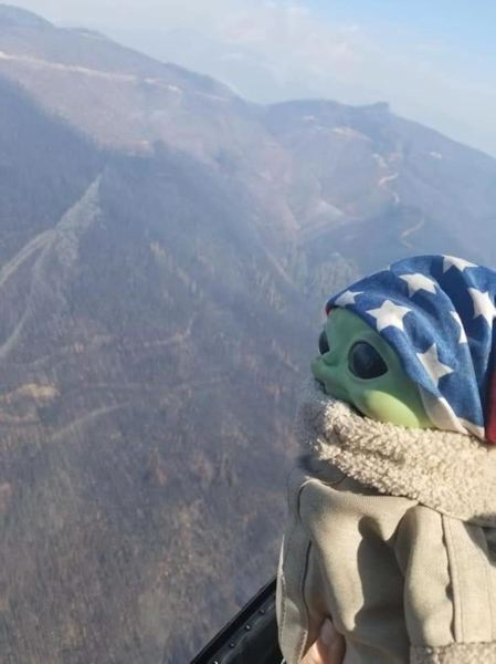 COURTESY PHOTO - Baby Yoda admires the view while flying with crews working on the Holiday Farm Fire.