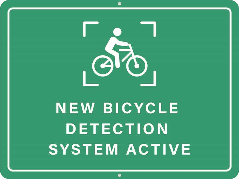 COURTESY PHOTO: WASHINGTON COUNTY - You might see this sign near at various intersections in Washington County. The sign is part of a new cyclist detection system.