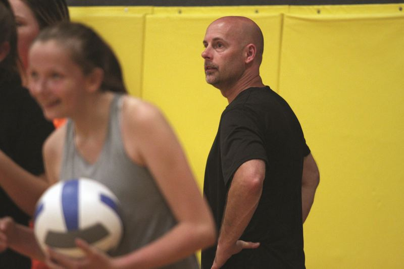 PMG PHOTO: PHIL HAWKINS - Trevor Bodine took over the North Marion volleyball program in 2019, leading the Huskies to their first state quarterfinal appearance since 1990.