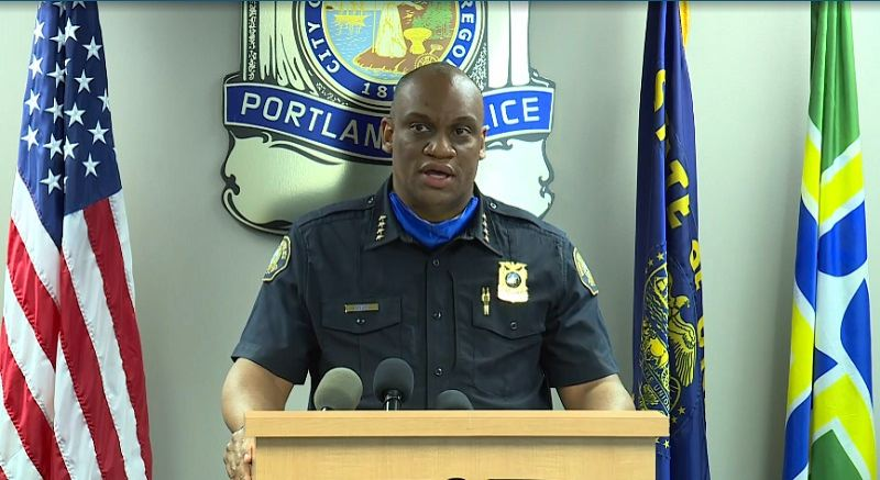 KOIN 6 NEWS - Portland Police Chief Chuck Lovell at the Thursday news conference.