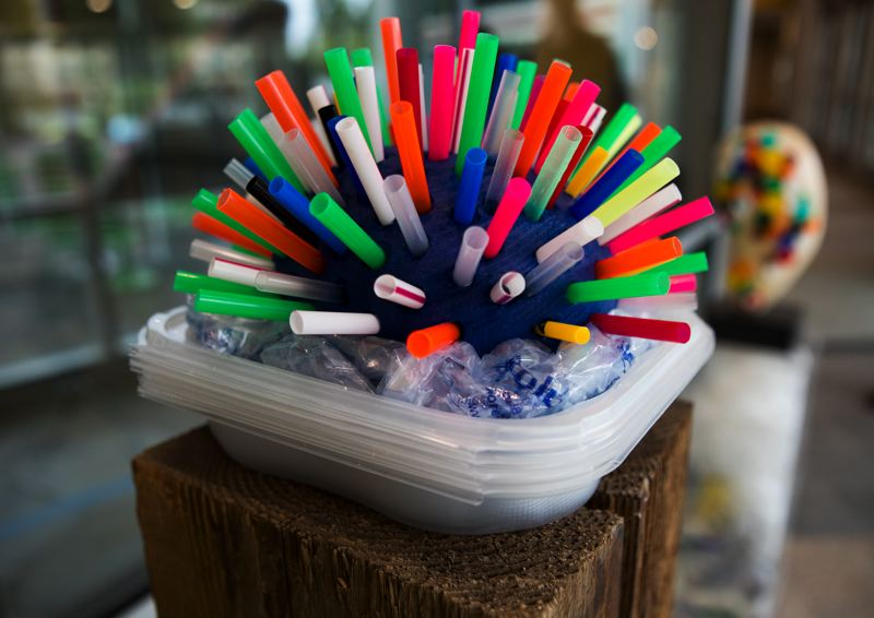 PMG PHOTO: JAIME VALDEZ - Discarded plastics used to create an urchin sculpture at Pacific University professor Tyler Brumfield's new exhibit 'Everyday Abstractions' at the Hillsboro Civic Center.