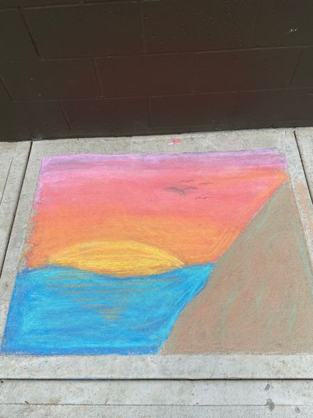 COURTESY PHOTO: CITY OF CORNELIUS - Chalk art outside the Cornelius Public Library created as part of the 'Color Cornelius' chalk art event.