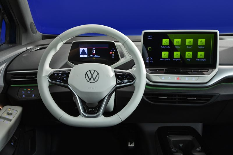 COURTESY VW - The interior of the ID.4 mirrors the futuristic look of the exterior, with functionality almost completely controlled by touch or voice control. A 10-inch Discover Pro or 12.5-inch Discover Pro Max touch infotainment display is located in the middle of the dash panel, angled slightly towards the driver.