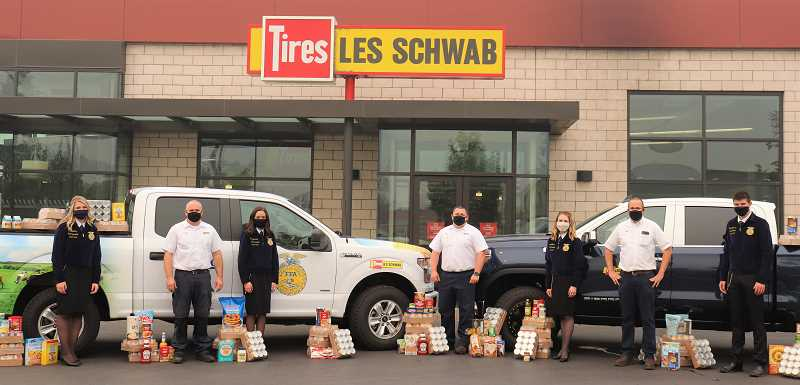 COURTESY PHOTO: OREGON FFA - Oregon FFA and Les Schwab team up to feed the hungry in advance of the holiday season.