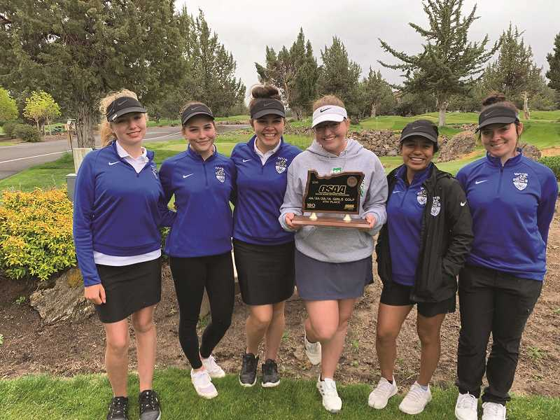 COURTESY PHOTO: NEIL WILHELM - The 2019 Woodburn girls golf team placed fourth overall at the 4A State Championships. From left: Paris Wilhelm, Larissa Krivoshein, Nina Scherbakov, Bailey Woolley, April Vasquez and Haley Elsasser.