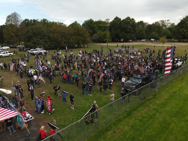 PMG PHOTO: ALVARO FONTAN - Although the city of Portland did not issue a permit for the use of Delta Park, an estimated 200 Proud Boys and supporters arrived Saturday, Sept. 26.