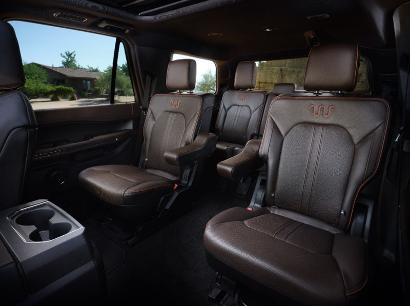 COURTESY FORD - The standard second row Captains Chairs in he King Ranch version are very comfortable and make reaching the third row easy.