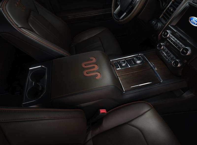COURTESY FORD - The King Ranch 'Running W' brand is prominently featured in several locations, including the center console.