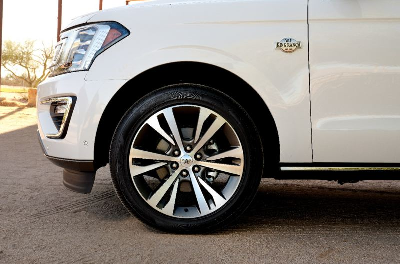 COURTESY FORD - The King Road version of the Ford Expedition rides on unique 22-inch aluminum wheels.