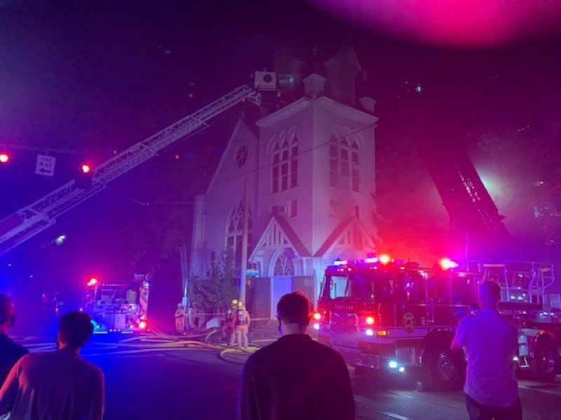 KOIN 6 NEWS - The scene of the fire at the church.