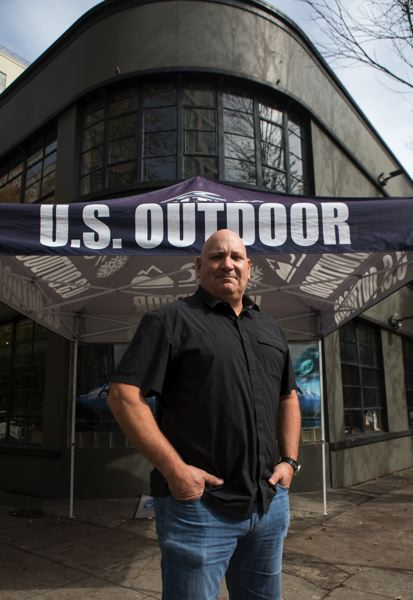 PHOTO BY JAIME VALDEZ - Store owner Ed Ariniello stands at the entrance of the new location of US Outdoor store in the Pearl District.
