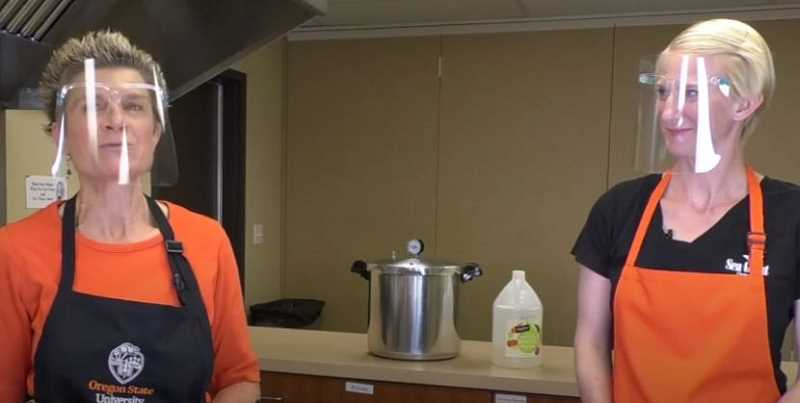 PHOTO COURTESY: KIMBERLY JACOBSEN - Kelly Streit and Amanda Gladics of OSU Extension star in a video on home seafood canning that was filmed in Clackamas County.