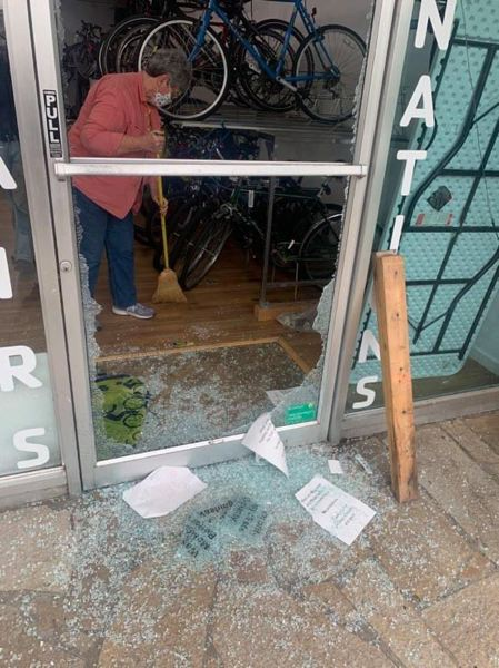 COURTESY PHOTO: HILLSBORO POLICE DEPARTMENT - A smashed door at WashCo Bikes Community Bike Center in Hillsboro after a recent burglary.