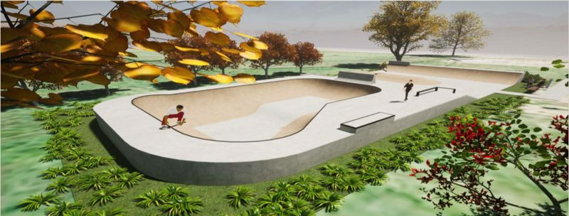 COURTESY GRAPHIC - Dreamlands Skateparks presented this and other images to the Culver City Council in a work session. The company is helping with design services for the proposed park, in honor of Darlene Urbach.