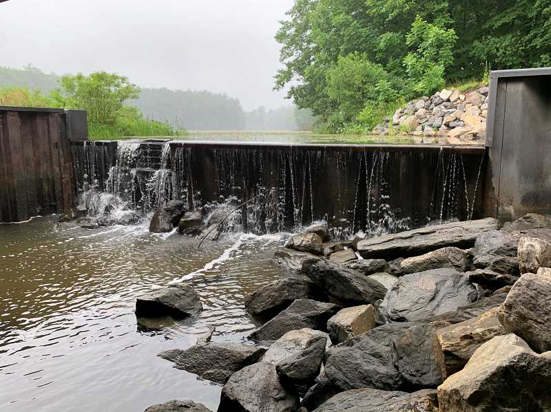 COURTESY PHOTO: LUKE OVGARD - I fished below this small dam on an Interstate highway in New Hampshire. Using live bait from below the dam, I went into the pond above it and got a pickerel.