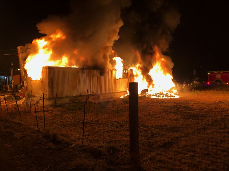 COURTESY PHOTO - Jefferson County Fire District No. 1 responded to a fire at an abandoned mobile home Wednesday night.