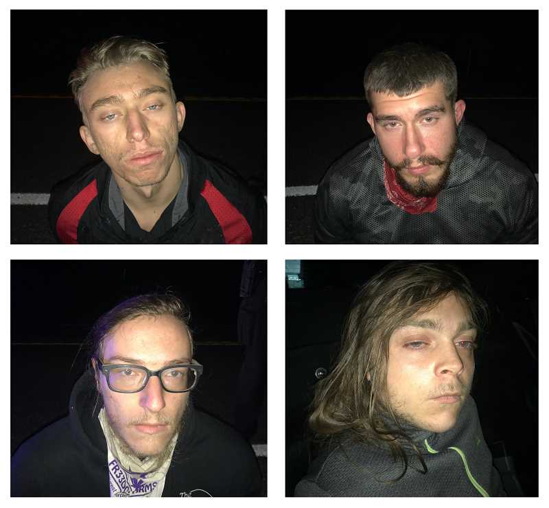 COURTESY PHOTO: CCSO - The suspects are (from top left, clockwise): Tanner Leslie Giles, Sebastian Roby, Donovan Allan Hall and Jason Troyer.