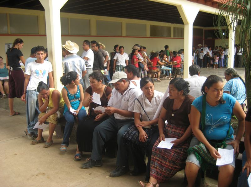 COURTESY PHOTO - Patients wait in line outside the Enfoque Ixcan eye clinic in Guatemala.