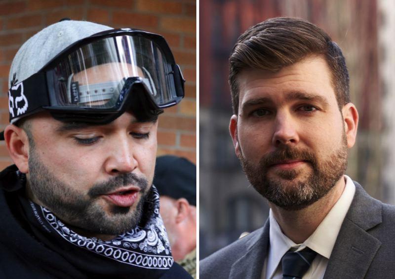 FILE PHOTOS - Patriot Prayer leader Joey Gibson and Multnomah County District Attorney Mike Schmidt