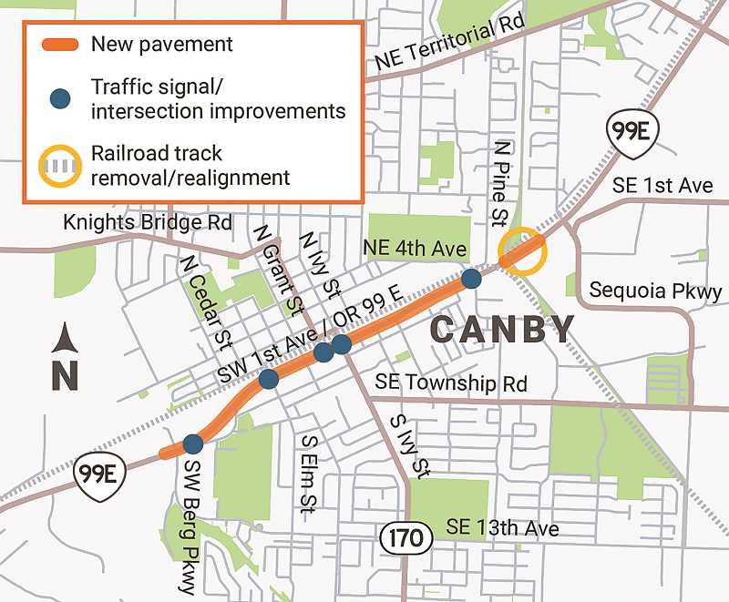 COURTESY PHOTO: ODOT - A look at the length and breadth of the proposed highway project along a one-mile stretch of Highway 99E in Canby in 2022.